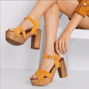 ALDO Yellow Suede Strap Wooden 70s Platform Heel